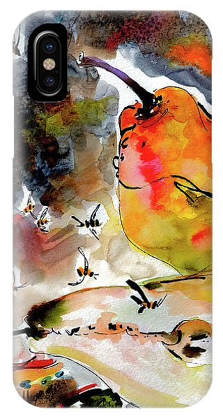 IPhone Case featuring the painting Modern Pears And Bees By Ginette by Ginette Callaway