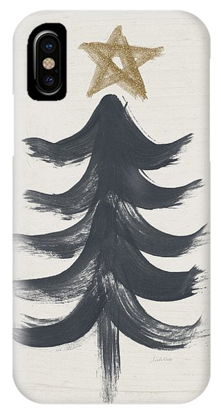 Christmas Tree iPhone Case - Modern Primitive Black And Gold Tree 1- Art By Linda Woods by Linda Woods