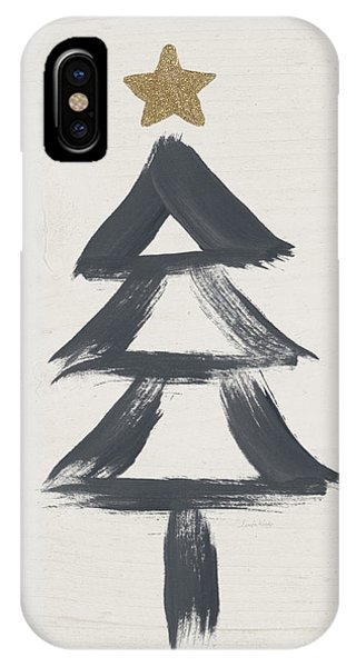 Christmas Tree iPhone Case - Modern Primitive Black And Gold Tree 2- Art By Linda Woods by Linda Woods