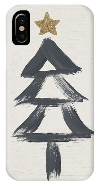 Holidays iPhone Case - Modern Primitive Black And Gold Tree 2- Art By Linda Woods by Linda Woods