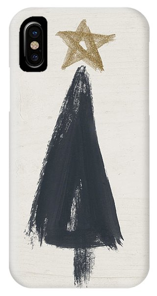 Modern Primitive Black And Gold Tree 3- Art By Linda Woods IPhone Case