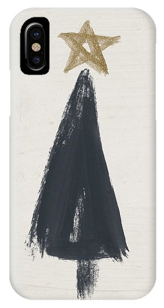 Christmas Tree iPhone Case - Modern Primitive Black And Gold Tree 3- Art By Linda Woods by Linda Woods