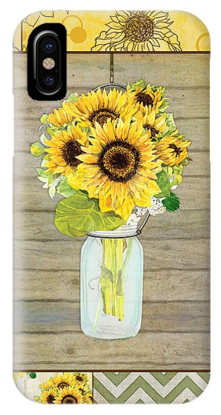Sunflower iPhone Case - Modern Rustic Country Sunflowers In Mason Jar by Audrey Jeanne Roberts