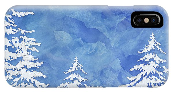 Cabin iPhone Case - Modern Watercolor Winter Abstract - Snowy Trees by Audrey Jeanne Roberts