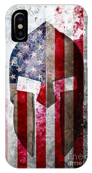 Molon Labe - Spartan Helmet Across An American Flag On Distressed Metal Sheet IPhone Case