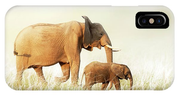 Mom And Baby Elephant Walking Through Tall Grass IPhone Case