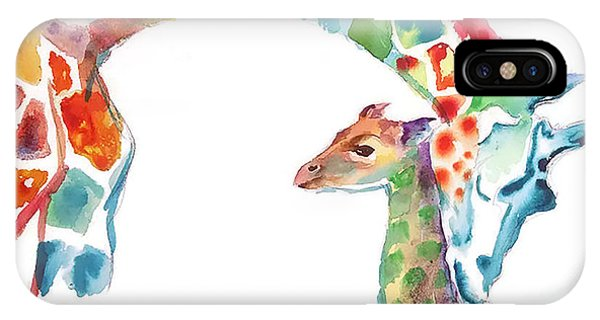 Giraffe iPhone Case - Mommy And Baby Giraffe by Emma Kaufmann