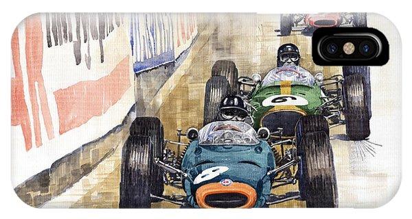 Automotive iPhone Case - Monaco Gp 1964 Brm Brabham Ferrari by Yuriy Shevchuk