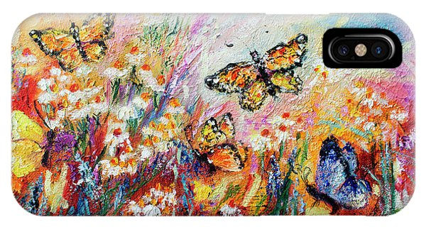 Monarch Butterflies And Chamomile Flowers IPhone Case