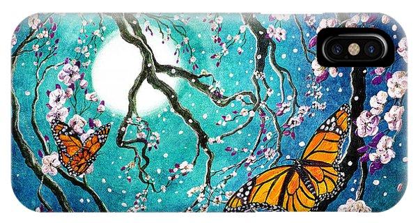 Monarch Butterflies In Teal Moonlight IPhone Case