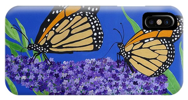 Monarch Butterflies On Buddleia Flower IPhone Case