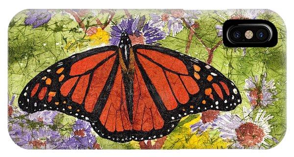 Monarch Butterfly On Purple Flowers Watercolor Batik IPhone Case