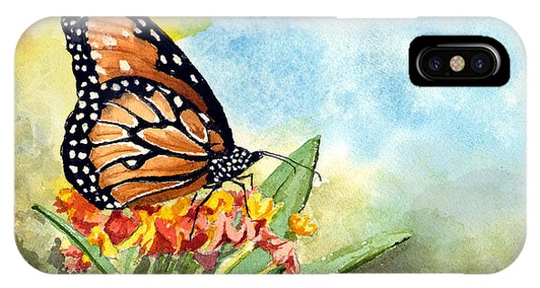 IPhone Case featuring the painting Monarch Butterfly by Sam Sidders