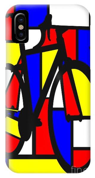 Cycling iPhone Case - Mondrianesque Road Bike by Sassan Filsoof