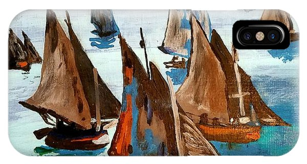 Monet Fishing Boats Calm Seas IPhone Case