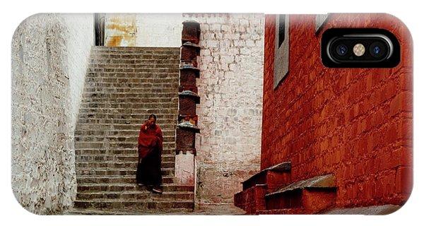 Kora iPhone Case - Monk In Tashilhunpo Monastery Shigatse Tibet Artmif.lv by Raimond Klavins