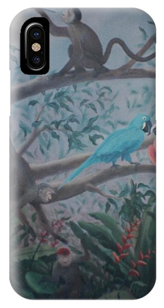 Monkey Artist Painting The Moon  IPhone Case
