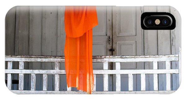 Monk's Robe Hanging Out To Dry, Luang Prabang, Laos IPhone Case