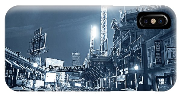 Monochrome Blue Nights Boston Ma Lansdowne St Fenway Park Game Night IPhone Case