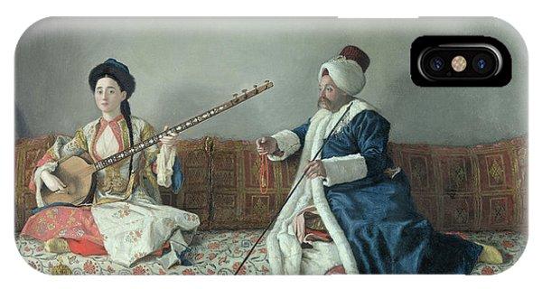 Strum iPhone Case - Monsieur Levett And Mademoiselle Helene Glavany In Turkish Costumes by Jean Etienne Liotard