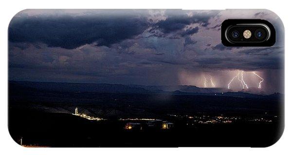 Monsoon Lightning Over Sedona From Jerome Az IPhone Case