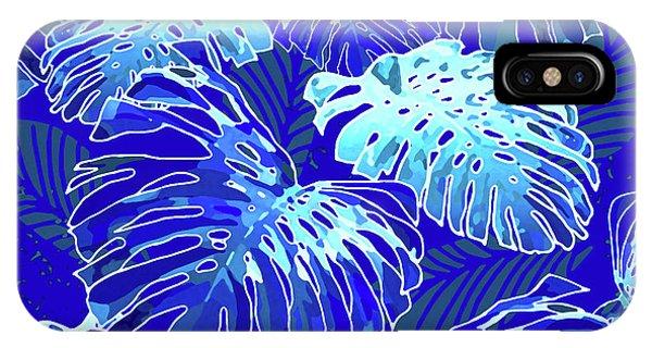 Monstera Jungle Blues IPhone Case