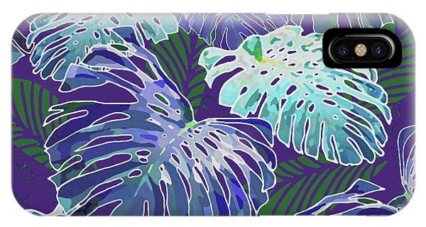 Monstera Jungle On Purple IPhone Case