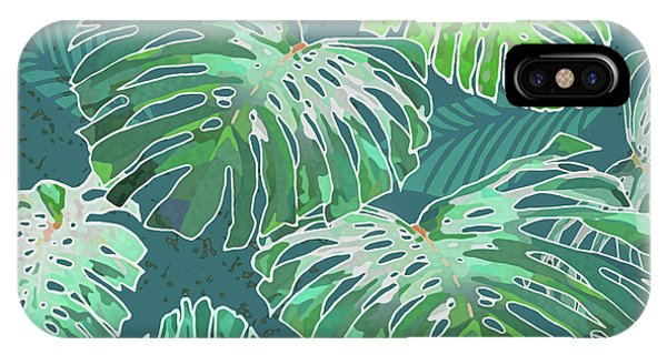 Monstera Jungle Teal IPhone Case
