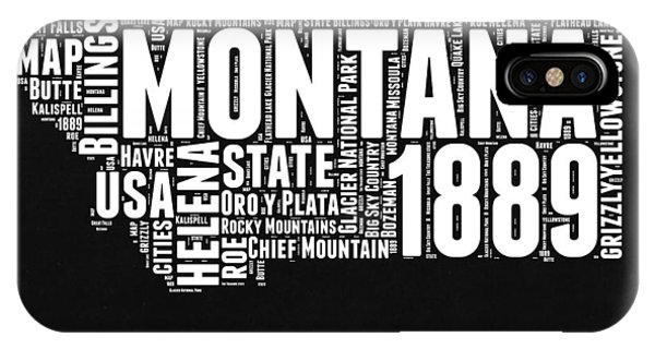 Montana State iPhone Case - Montana Black And White Map by Naxart Studio