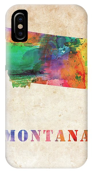 Montana State iPhone Case - Montana Colorful Watercolor Map by Mihaela Pater