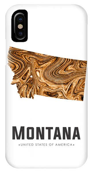 Montana Map Art Abstract In Brown IPhone Case