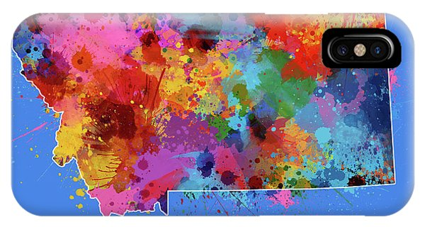 Montana Map Color Splatter 3 IPhone Case