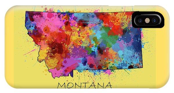 Montana Map Color Splatter 4 IPhone Case