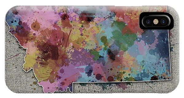 Montana Map Color Splatter 5 IPhone Case