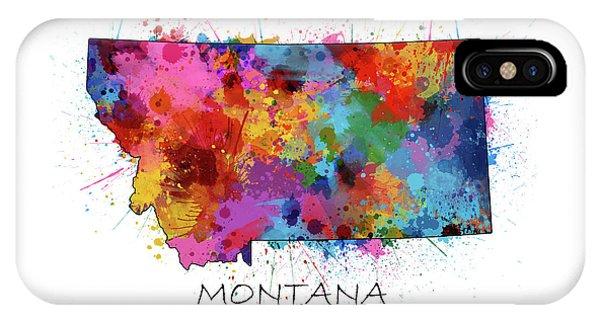 Montana Map Color Splatter IPhone Case