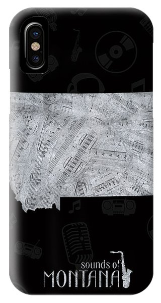 Montana State iPhone Case - Montana Map Music Notes 2 by Bekim M