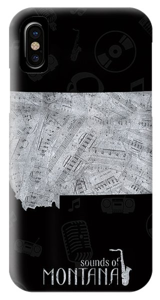 Montana Map Music Notes 2 IPhone Case