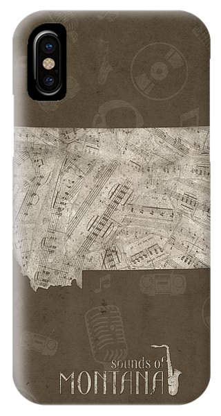 Montana State iPhone Case - Montana Map Music Notes 3 by Bekim M