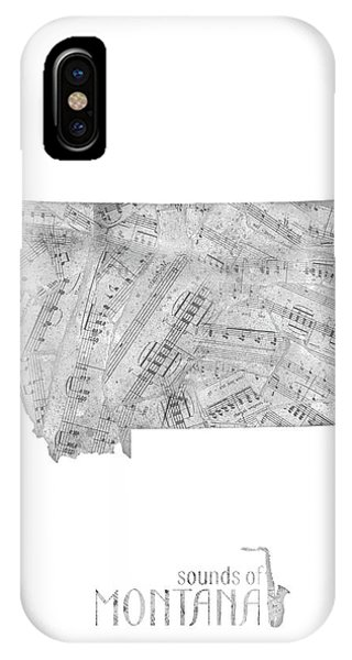 Montana State iPhone Case - Montana Map Music Notes by Bekim M