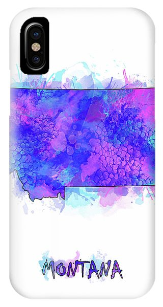 Montana State iPhone Case - Montana Map Watercolor 2 by Bekim M