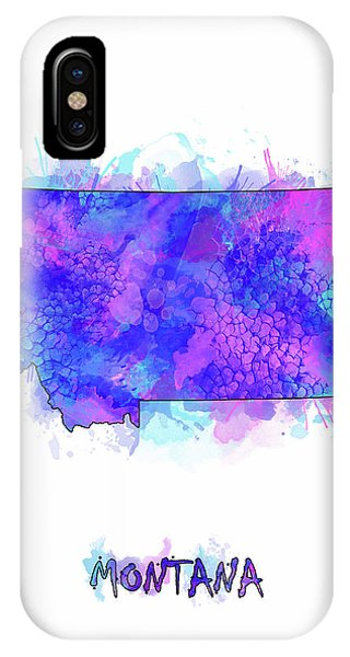 Montana Map Watercolor 2 IPhone Case