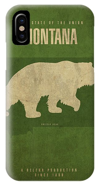 Montana State iPhone Case - Montana State Facts Minimalist Movie Poster Art by Design Turnpike