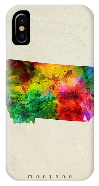 Montana State iPhone Case - Montana State Map 01 by Aged Pixel