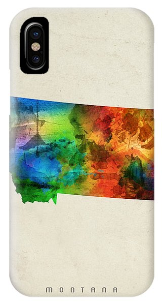 Montana State iPhone Case - Montana State Map 03 by Aged Pixel