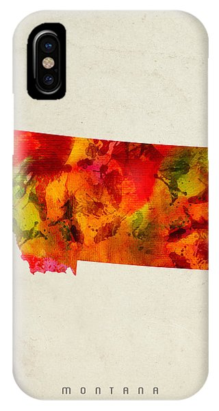 Montana State iPhone Case - Montana State Map 04 by Aged Pixel