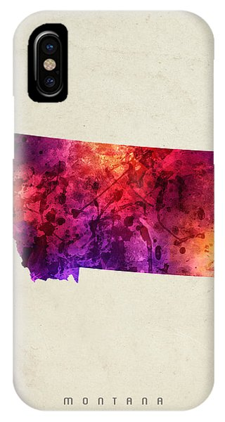 Montana State iPhone Case - Montana State Map 05 by Aged Pixel