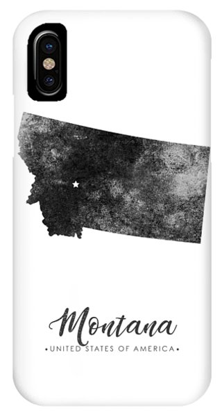 Montana State Map Art - Grunge Silhouette IPhone Case