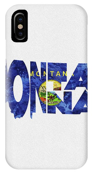 Montana State iPhone Case - Montana Typographic Map Flag by Inspirowl Design