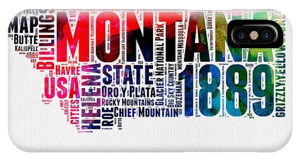 Montana Watercolor Word Cloud  IPhone Case