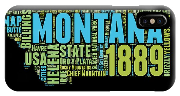 Montana State iPhone Case - Montana Word Cloud 1 by Naxart Studio